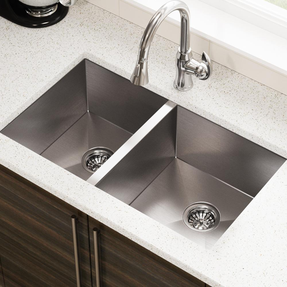 Mr Direct Undermount Stainless Steel 32 In Double Bowl Kitchen Sink