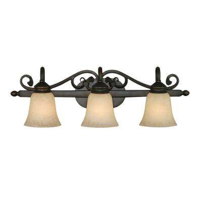 Belle Meade Collection 3-Light Rubbed Bronze Bath Vanity Light