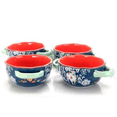Life on The Farm 6 in. Blue Soup Bowl (Set of 4)