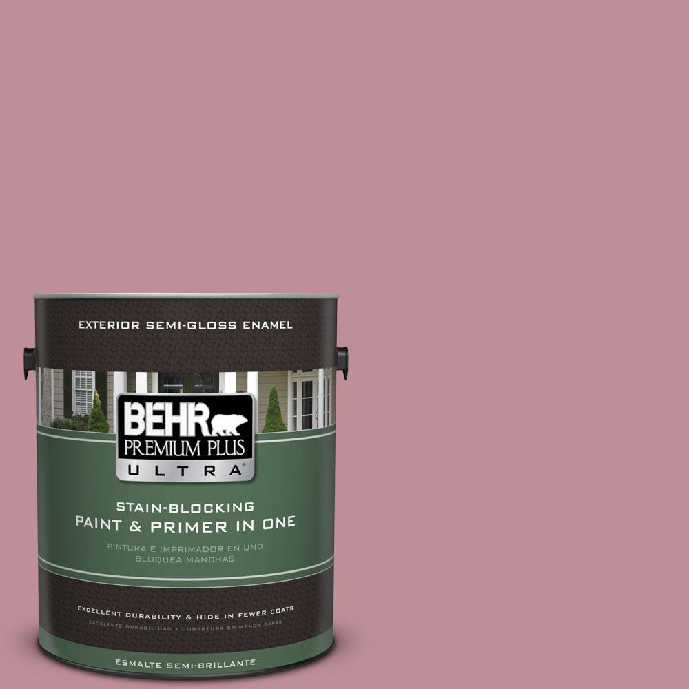 BEHR Premium Plus Ultra 1-gal. #S130-4 Cherry Juice Semi-Gloss Enamel Exterior Paint