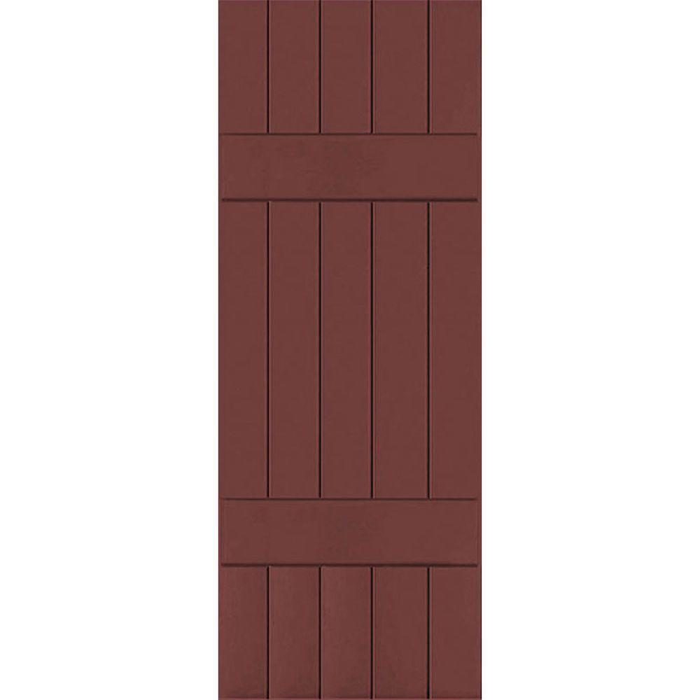 Ekena Millwork 18 in. x 34 in. Exterior Real Wood Western Red Cedar Board & Batten Shutters Pair Cottage Red