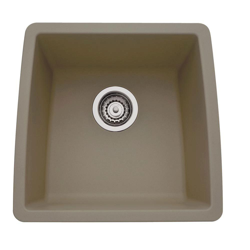Blanco Performa Undermount Granite in. 0-Hole Single Basin Kitchen Sink in Truffle