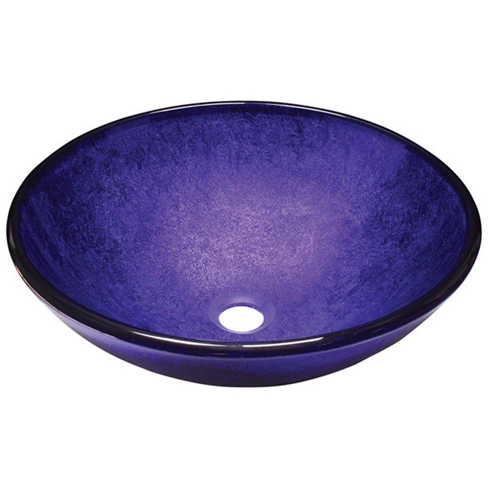 Polaris Sinks Glass Vessel Sink in Foil Undertone Purple