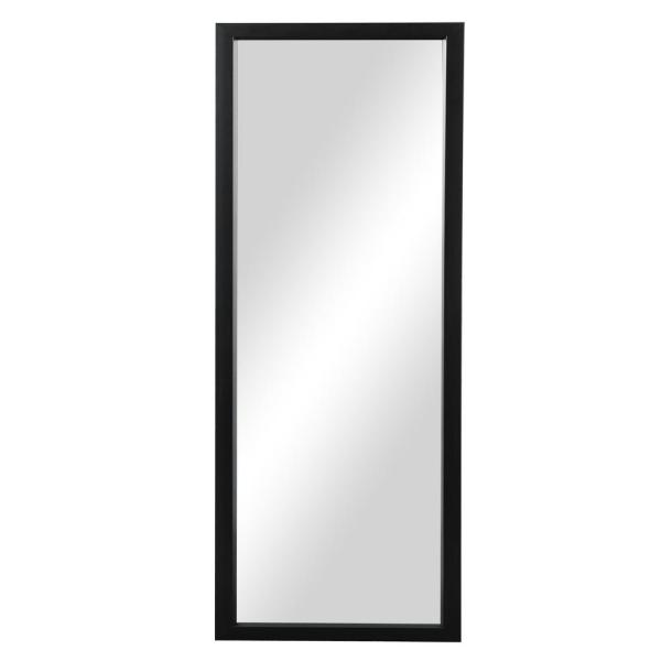Large Rectangle Black Hooks Modern Mirror (59 in. H x 16 in. W)