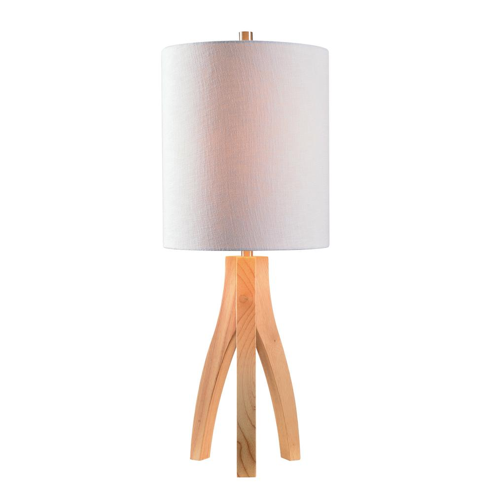 bbf1b889b505 Kenroy Home Haley 26.5 in. Wood Table Lamp with White Shade ...