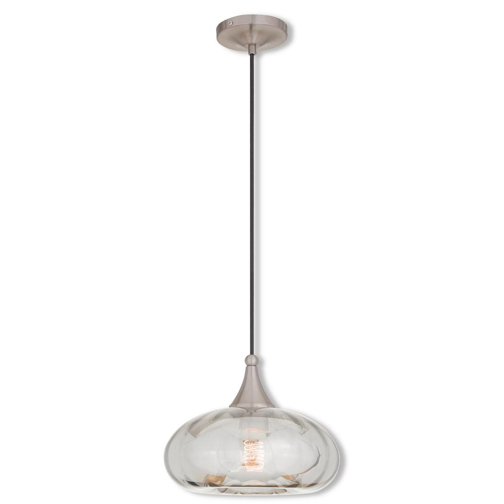 Livex Lighting Art Gl 1 Light Brushed Nickel Mini Pendant