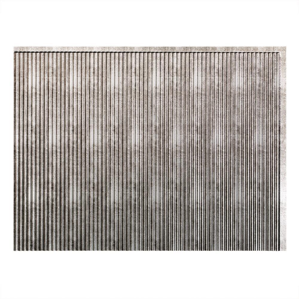 24 in. x 18 in. Rib PVC Decorative Backsplash Panel in Crosshatch Silver