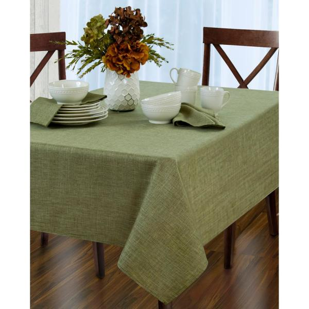 Elrene 52 in. W x 52 in. L Green Elrene Pennington Damask Fabric Tablecloth