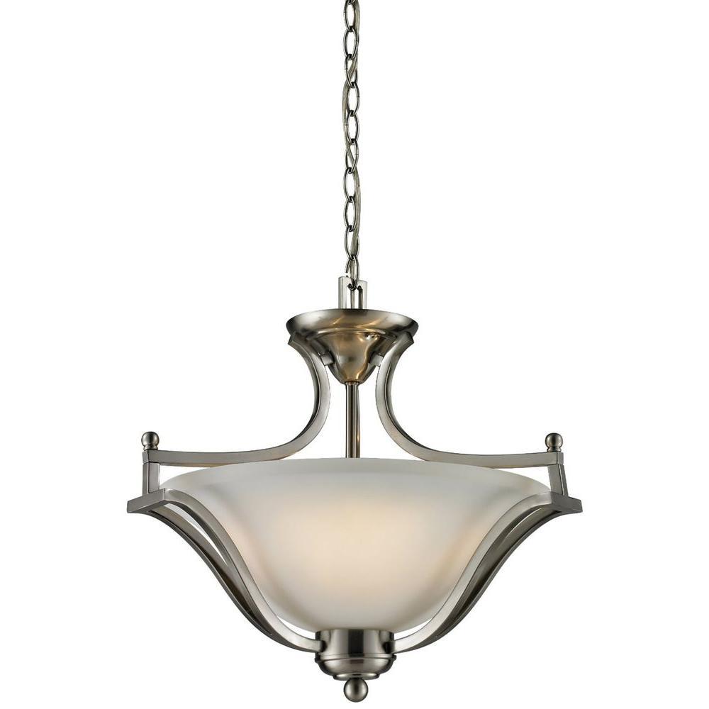 Lawrence 3-Light Brushed Nickel Incandescent Ceiling Pendant
