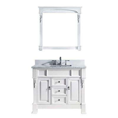 Huntshire 40 in. W Bath Vanity in White with Marble Vanity Top in White with Square Basin and Mirror