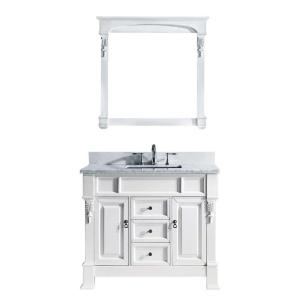 Virtu USA Huntshire 40 inch W x 22.5 inch D x 33.86 inch H White Vanity With Marble Vanity Top With White Square Basin... by Virtu USA