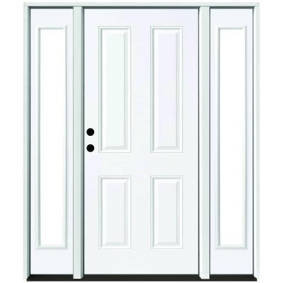 60 in. x 80 in. 4-Panel Primed White Right-Hand Steel Prehung Front Door with 10 in. Clear Glass Sidelites 4 in. Wall