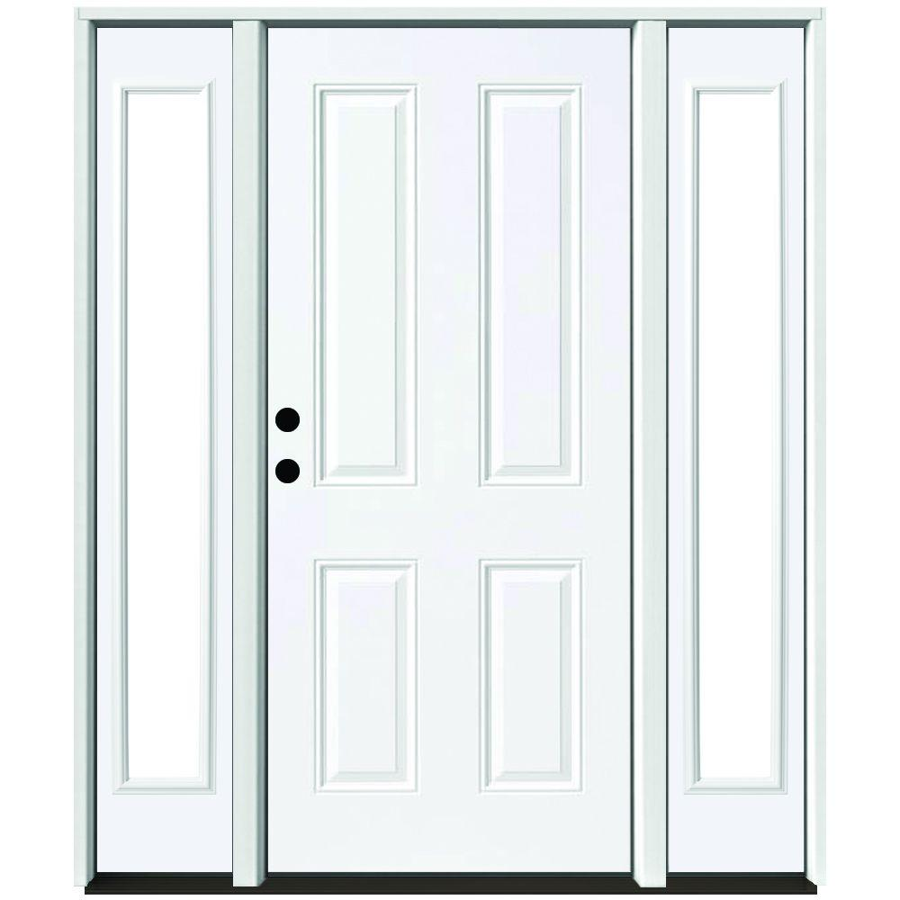 Steves sons 64 in x 80 in 4 panel primed white right for White front door with glass