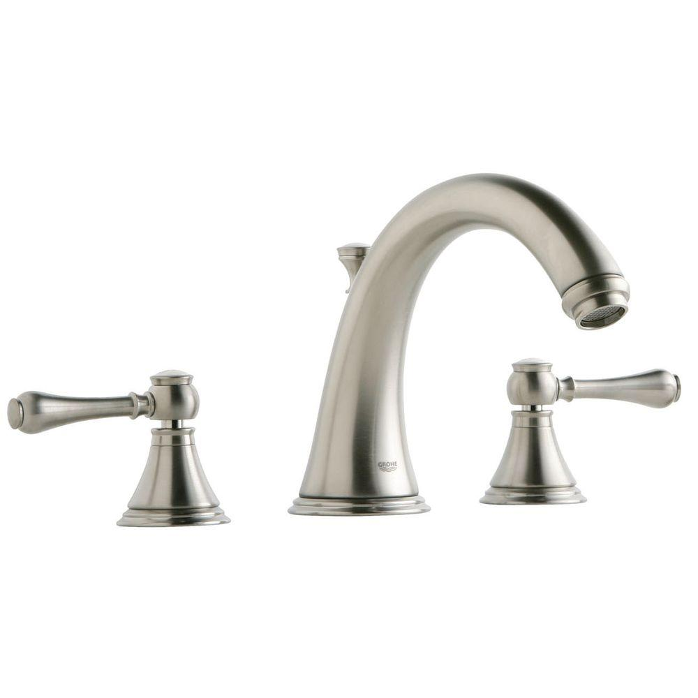 Grohe Geneva 2 Handle Deck Mount Roman Tub Faucet In Brushed Nickel 25054en0 The Home Depot