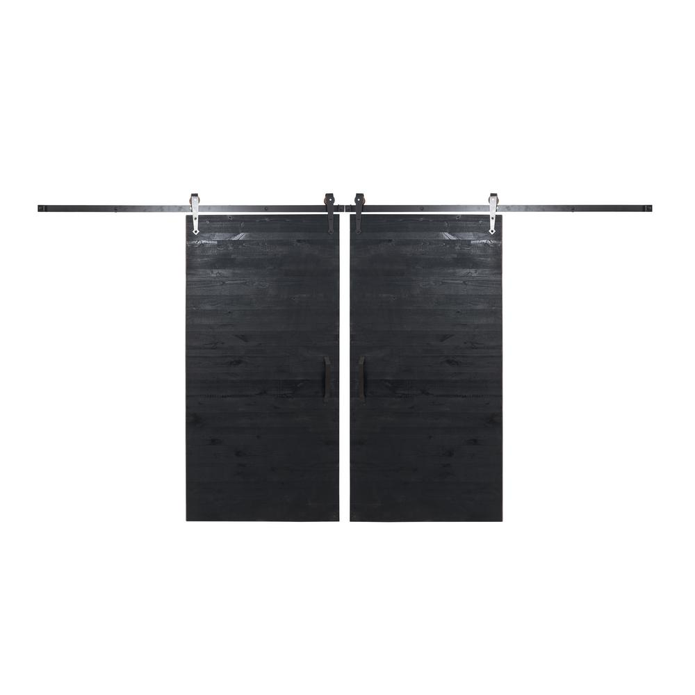 Rustica Hardware Bi Parting 36 In X 84 In Rustica Reclaimed Matte Black Barn Doors With Oil