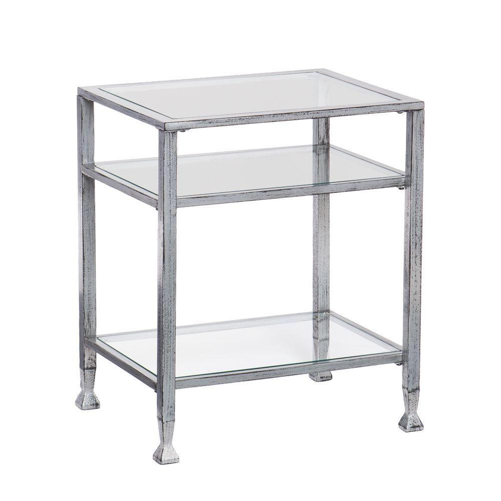 Southern Enterprises Silver And Black Glass Top End Table Hd864624