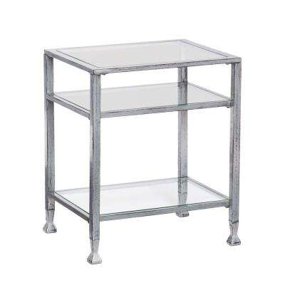 Silver and Black Glass Top End Table