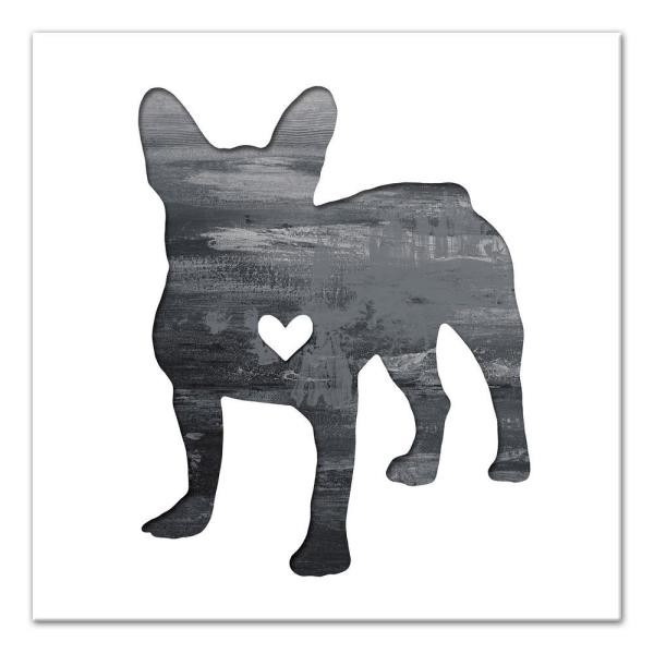 b261b75acab41 DESIGNS DIRECT 16 in. x 16 in.   Ink Silhouette Frenchie   Printed ...