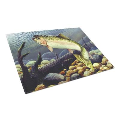 Rainbow Trout Tempered Glass Large Cutting Board