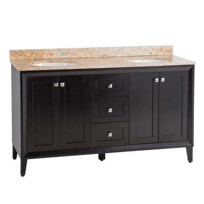 Austell 61 in. W x 38 in. H x 22 in. D Vanity in Black with Stone Effects Vanity Top in Tuscan Sun with White Sink