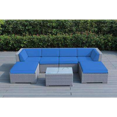Gray 7-Piece Wicker Patio Seating Set with Spuncrylic Blue Cushions