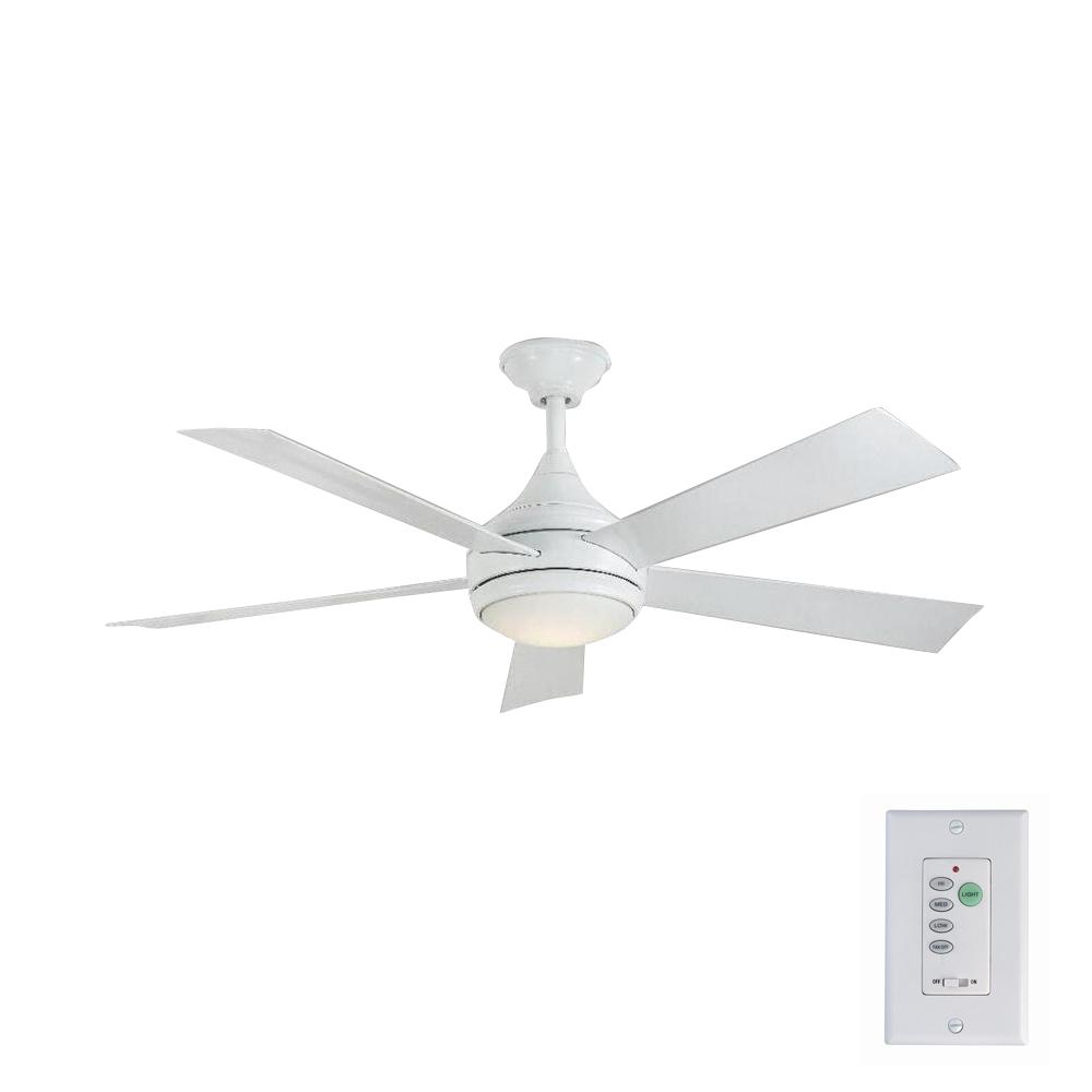 Home Decorators Collection Hanlon 52 In Led Indoor Outdoor Stainless Steel Glossy White Ceiling