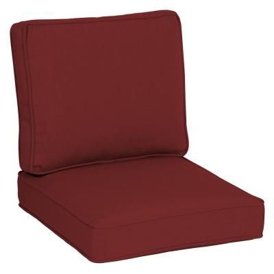 Oasis 24 in. x 26 in. Plush 2-Piece Deep Seating Outdoor Lounge Chair Cushion in Classic Red