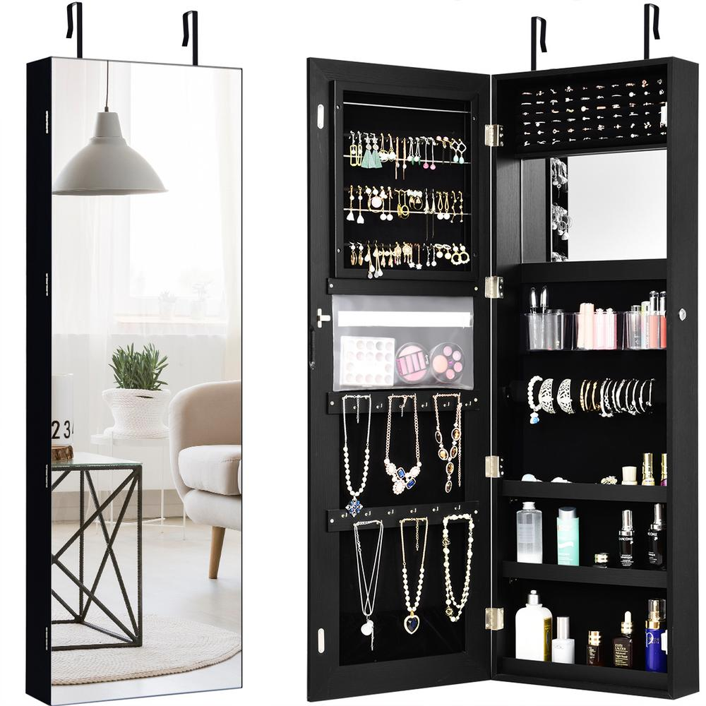 Costway Wall and Door Mounted Jewelry Box Cabinet Lockable ...