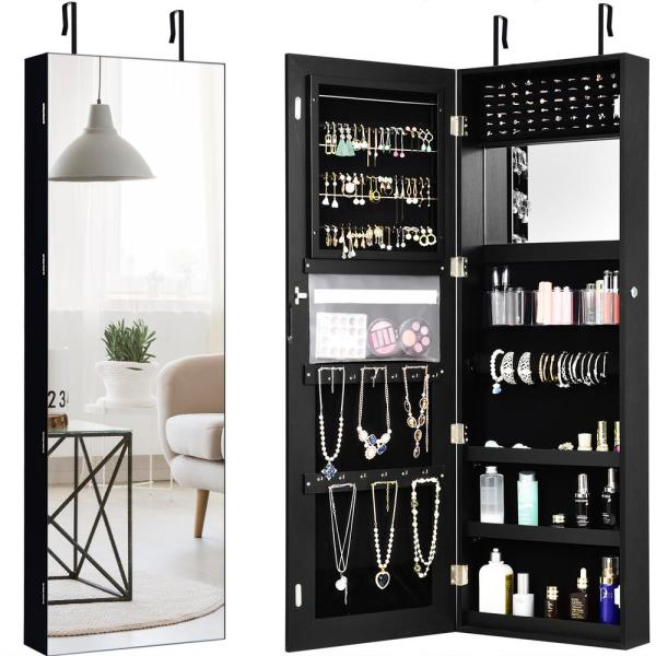 Full Length Dressing Mirror Jewelry Organizer with 5 Storage Shelves HOMGX Mirrored Wall-Mounted Jewelry Cabinet White Lockable Door Mounted Jewelry Armoires