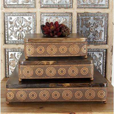 Metallic Copper Square Decorative Trays with Circular Details (Set of 3)
