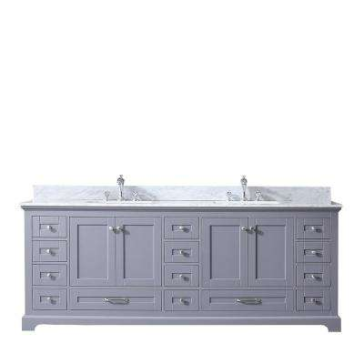 Dukes 84 in. Double Vanity Dark Grey White Carrera Marble Top White Square Sinks and No Mirror
