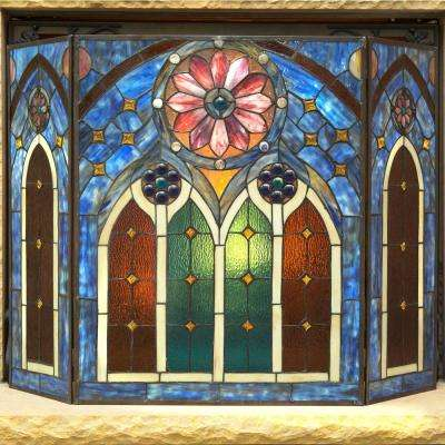 Multi-Colored Stained Glass 3-Panel Roman Style Cathedral Fireplace Screen