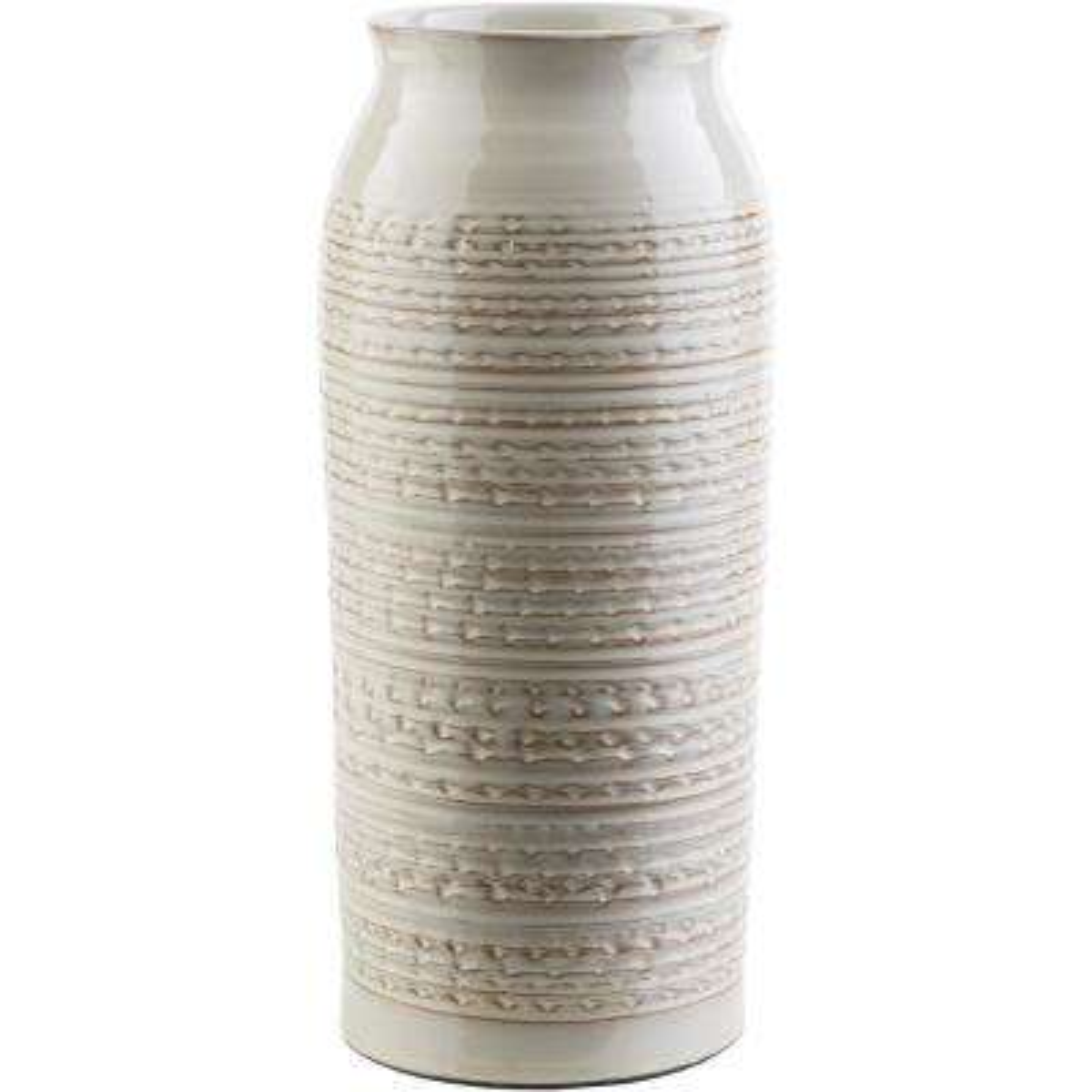 Salia 12.6 in. Khaki Ceramic Decorative Vase
