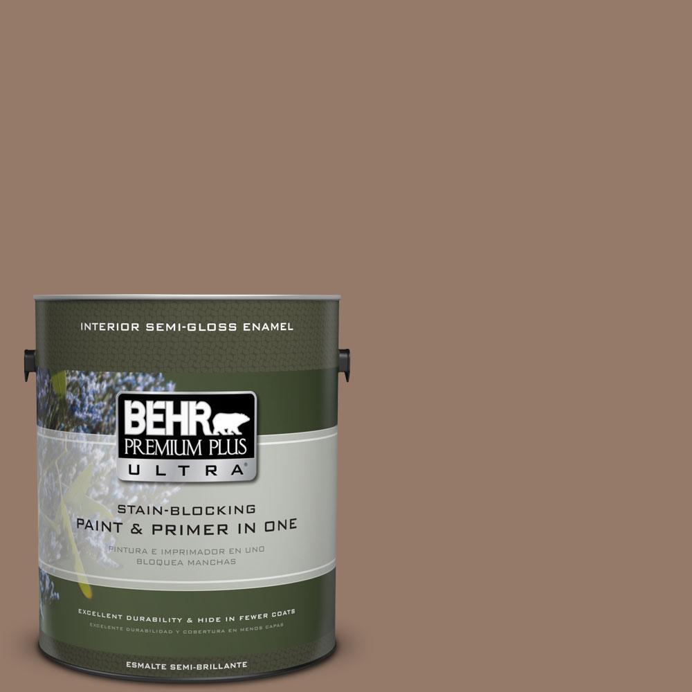 BEHR Premium Plus Ultra 1-gal. #BXC-73 True Walnut Semi-Gloss Enamel Interior Paint