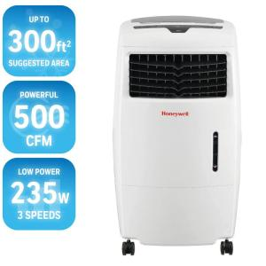 Click here to buy Honeywell 500 CFM 4-Speed Portable Evaporative Cooler for 300 sq. ft. by Honeywell.