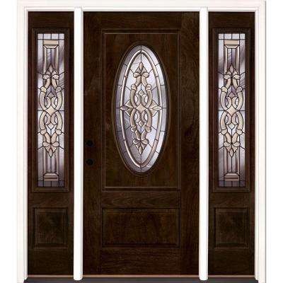 59.5 in.x81.625in.Silverdale Patina 3/4 Oval Lt Stained Chestnut Mahogany Rt-Hd Fiberglass Prehung Front Door w Sidelite