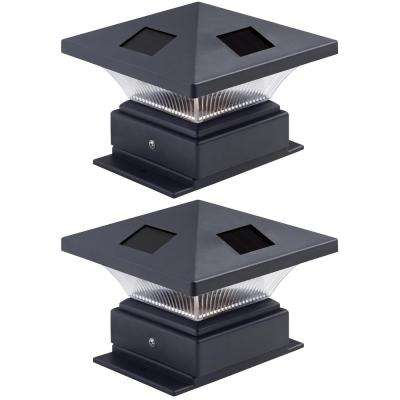4 in. x 4 in. Pagoda II Solar Powered Integrated LED Black Plastic Post Cap Light for Nominal Wood Posts (2-Pack)