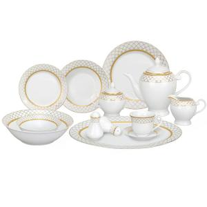 2c1a435fa3192 Lorren Home Trends 24-Piece Silver Band Porcelain Dinnerware Service ...