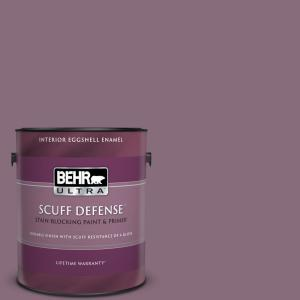 Behr Ultra 1 Gal S110 6 Plum Royale Extra Durable Eggshell Enamel Interior Paint Primer 275401 The Home Depot
