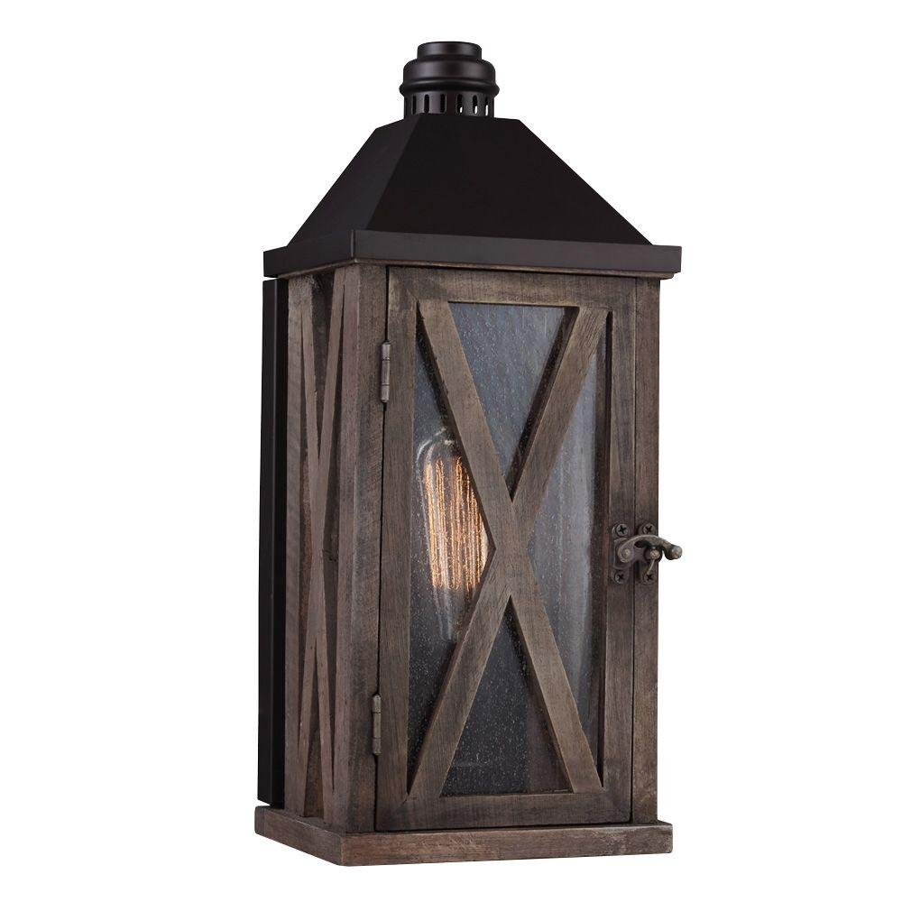 Feiss Lumiere Collection 1-Light Dark Weathered Oak/Oil-Rubbed Bronze Outdoor Wall Mount Sconce