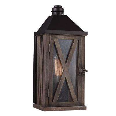 Lumiere Collection 1-Light Dark Weathered Oak/Oil-Rubbed Bronze Outdoor Wall Mount Sconce