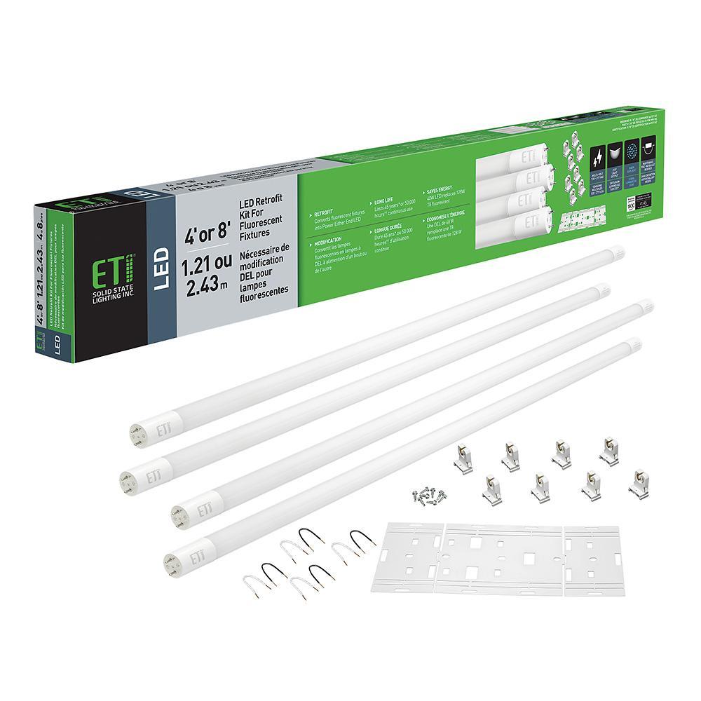 48-Watt 4 ft. Linear LED Tube Light Bulb Retrofit Conversion Kit Replaces 8 ft. T8 T12 Fluorescent Bulb 7200 Lumen 5000K