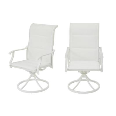 Riverbrook Shell White Swivel Aluminum Padded Sling Outdoor Patio Dining Lounge Chairs (2-Pack)