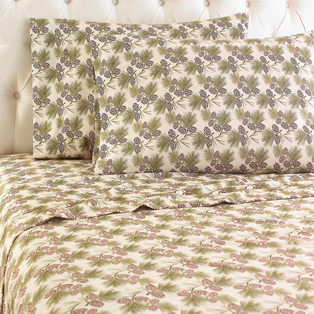 4-Piece Pinecone King Polyester Sheet Set, Pine Cone