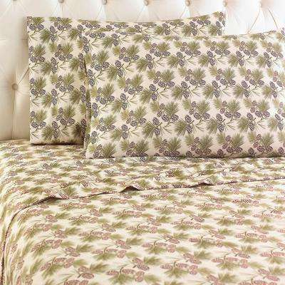 4-Piece Pinecone King Polyester Sheet Set