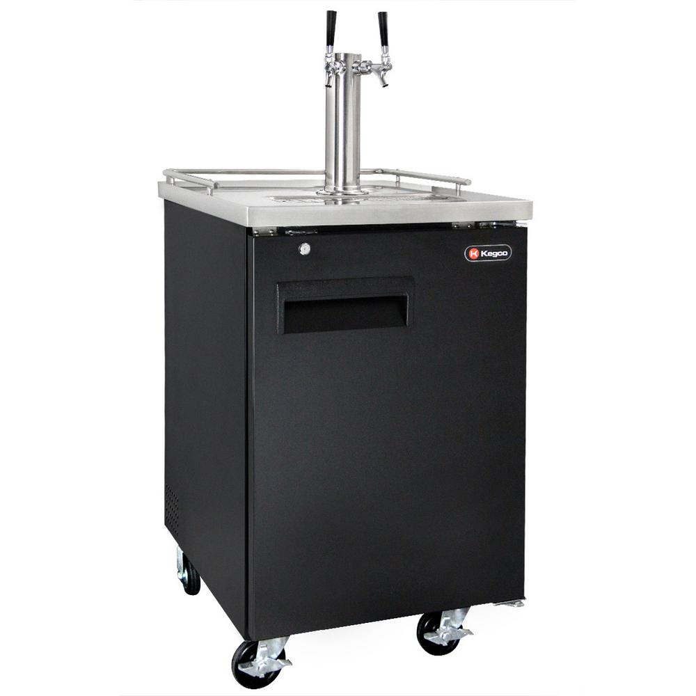 Commercial Full Size Beer Keg Dispenser with Dual Faucet Tower