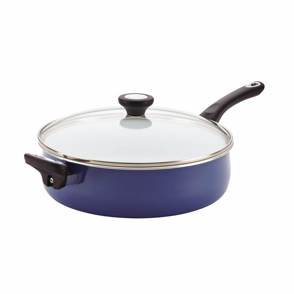 PURECOOK Ceramic Nonstick Cookware 5-Quart Covered Jumbo Cooker with Helper Handle, Blue