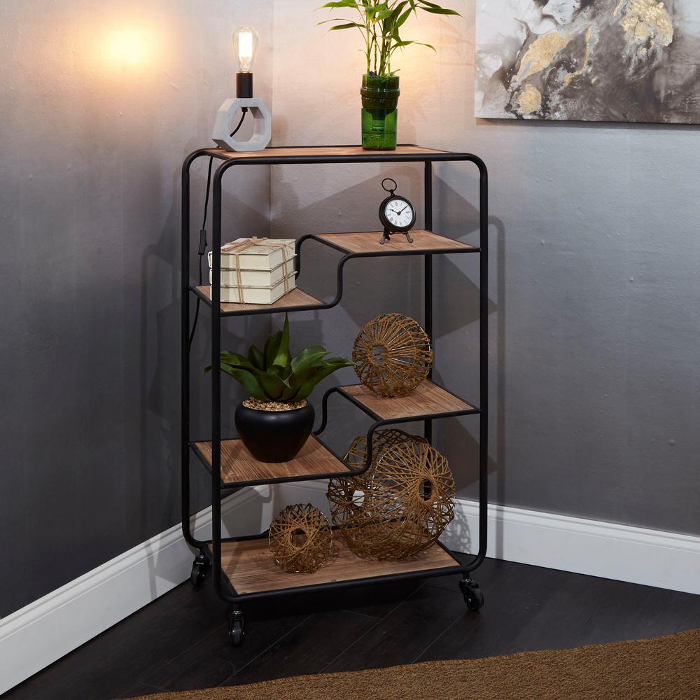 Franklin Gunmetal Table Cart Multi-tiered Slim
