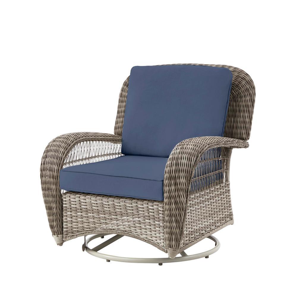 Beacon Park Gray Wicker Outdoor Patio Swivel Lounge Chair with CushionGuard Sky Blue Cushions