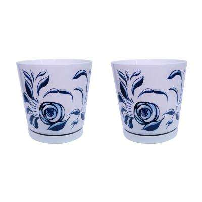 8.75 in. Blue Stylized Floral Melamine Planter with Self Watering Saucer (2-Pack)